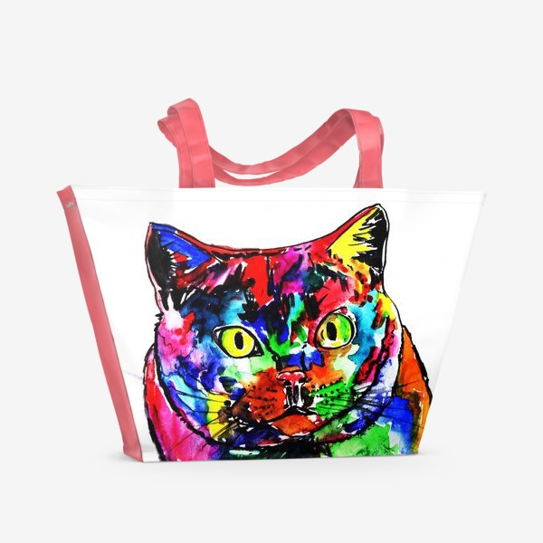 Пляжная сумка «Кот неон»