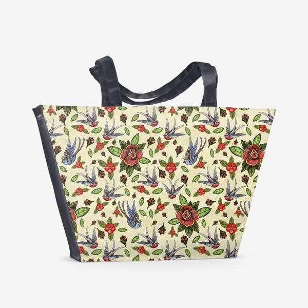 Пляжная сумка «Акварельный Old School Розы и Ласточки»