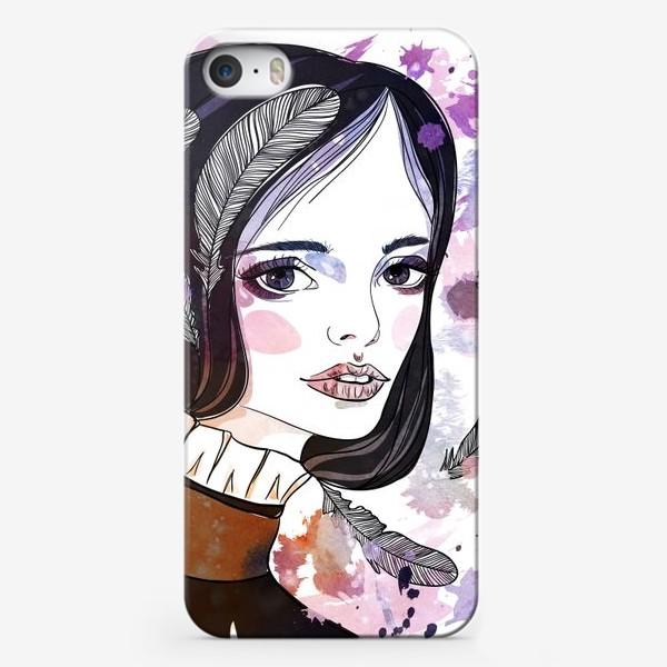 Чехол iPhone «Девушка с перьями в волосах»