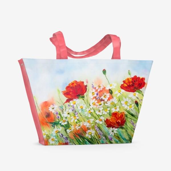 Пляжная сумка «Маки с ромашками»