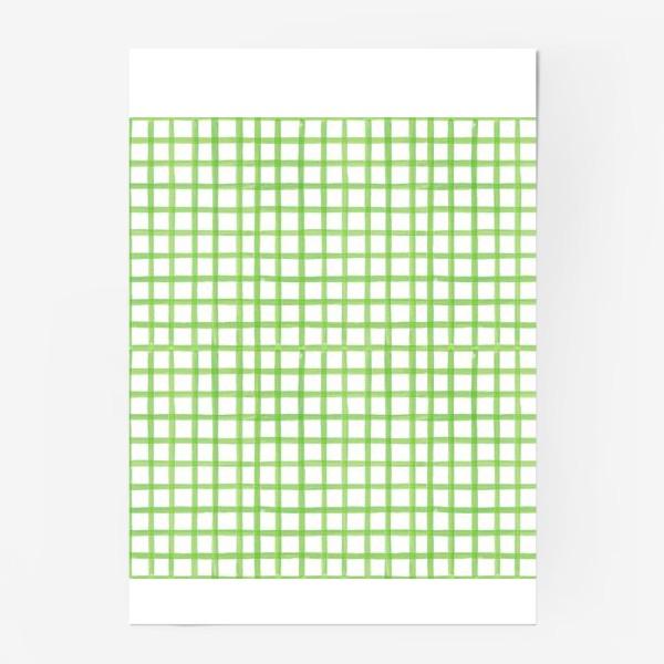 Постер «Зеленая клетка, паттерн»