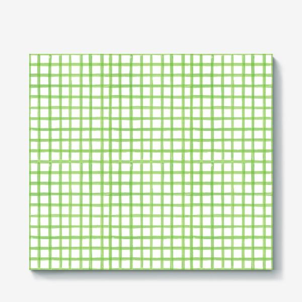 Холст «Зеленая клетка, паттерн»