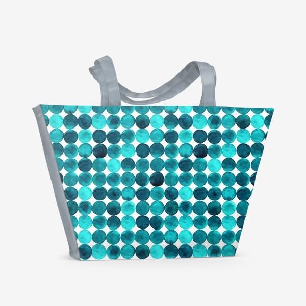 Пляжная сумка «Изумрудный паттерн, круги»