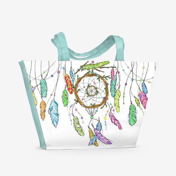 Пляжная сумка «Ловец снов и перья»