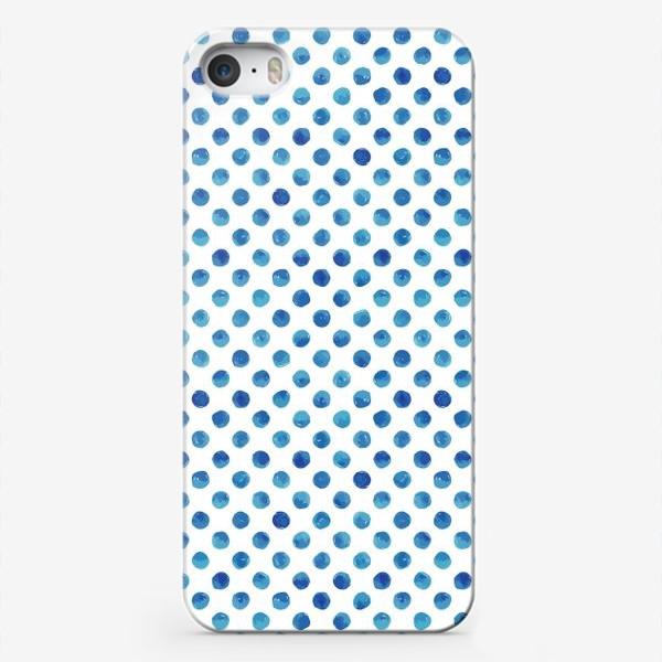 Чехол iPhone «Горох голубой, паттерн»