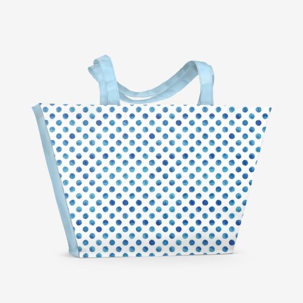 Пляжная сумка «Горох голубой, паттерн»