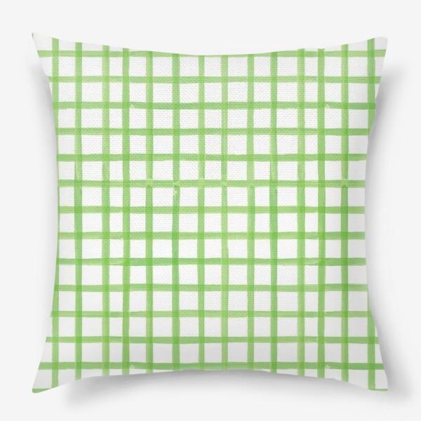 Подушка «Зеленая клетка, паттерн»