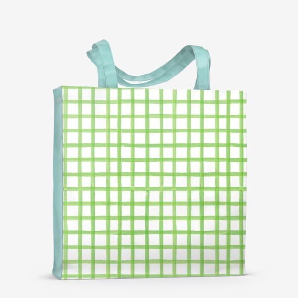 Сумка-шоппер «Зеленая клетка, паттерн»