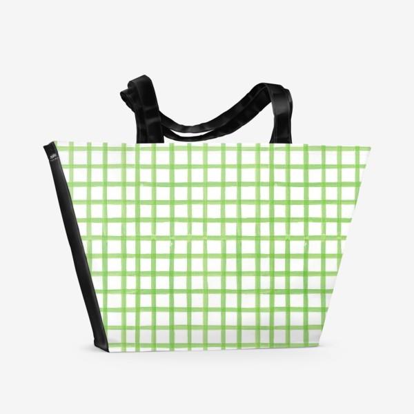 Пляжная сумка «Зеленая клетка, паттерн»