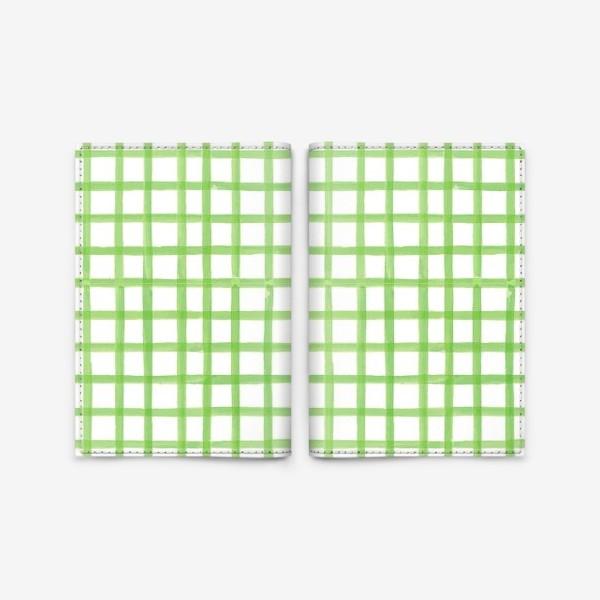 Обложка для паспорта «Зеленая клетка, паттерн»