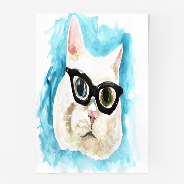 Постер «Белый кот профессор»