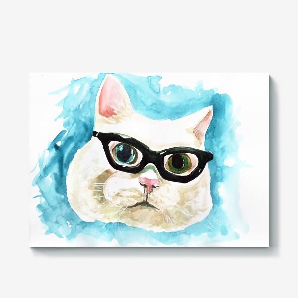 Холст «Белый кот профессор»