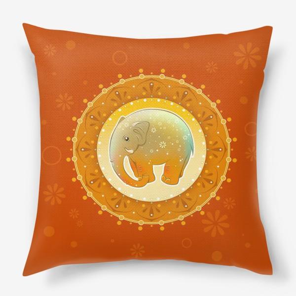 Подушка «Мандала со слоном»