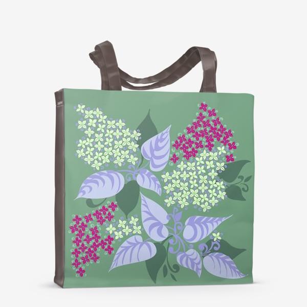 Сумка-шоппер «Сирень в зеленоватых тонах»