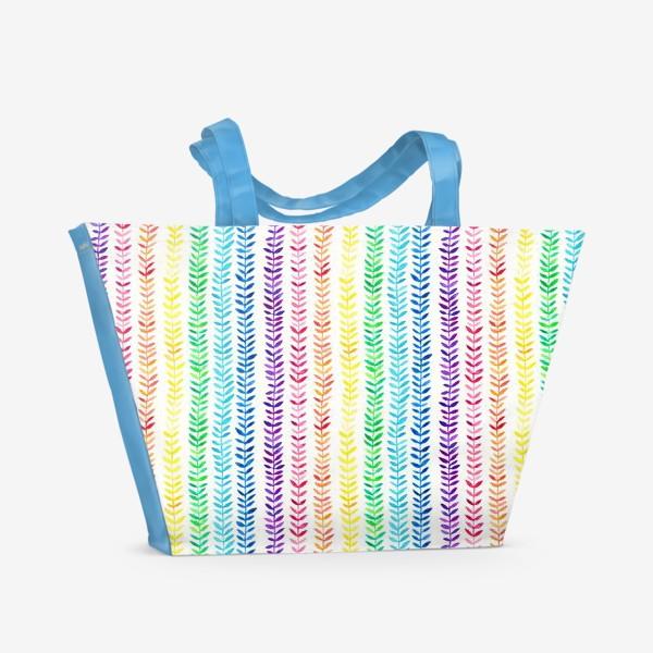 Пляжная сумка «Листочки-радуга»