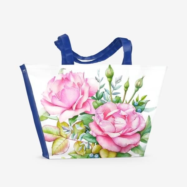 Пляжная сумка «Розовый букет»