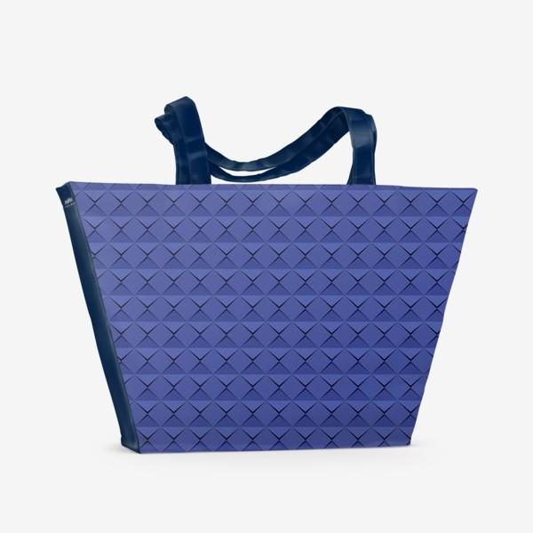 Пляжная сумка «Абстрактный 3д лист синей бумаги. Abstract 3d blue paper banner»