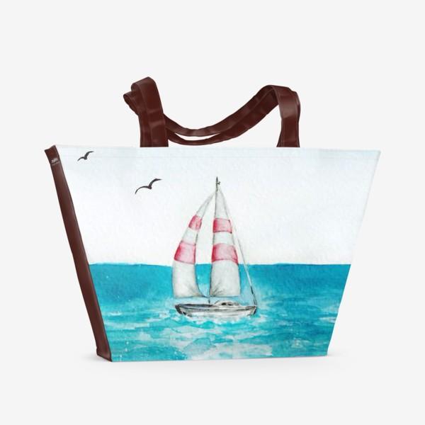 Пляжная сумка «корабль в море»