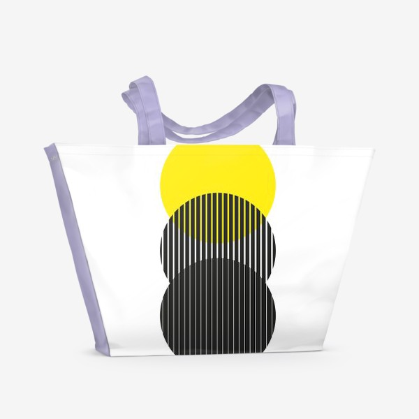 Пляжная сумка «Абстрактная композиция с желтым кругом»