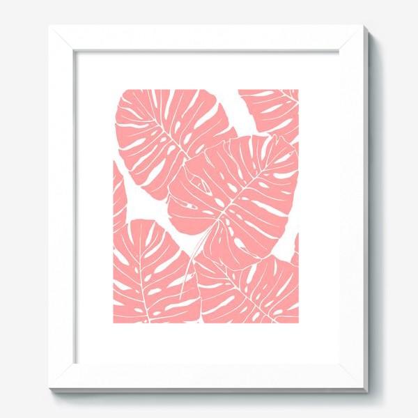 Картина «Монстера - паттерн из листьев (розовый)»