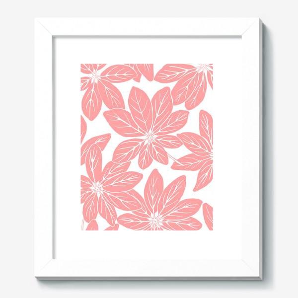 Картина «Листья шеффлеры - паттерн (розовый)»