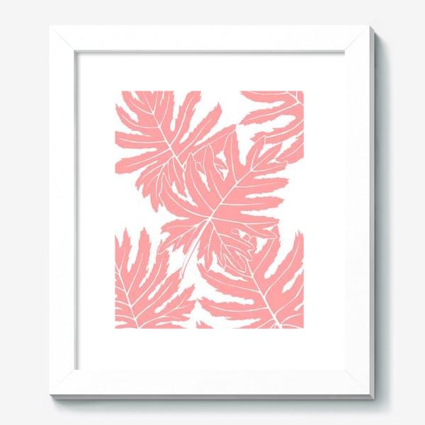 Картина «Филодендрон двоякоперистый, листья, паттерн (розовый)»