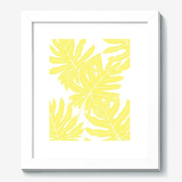 Картина «Филодендрон двоякоперистый, листья, паттерн (желтый)»
