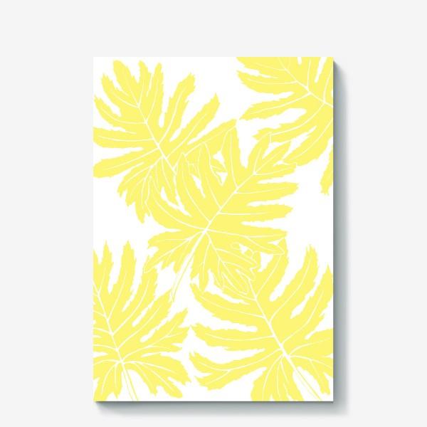 Холст «Филодендрон двоякоперистый, листья, паттерн (желтый)»