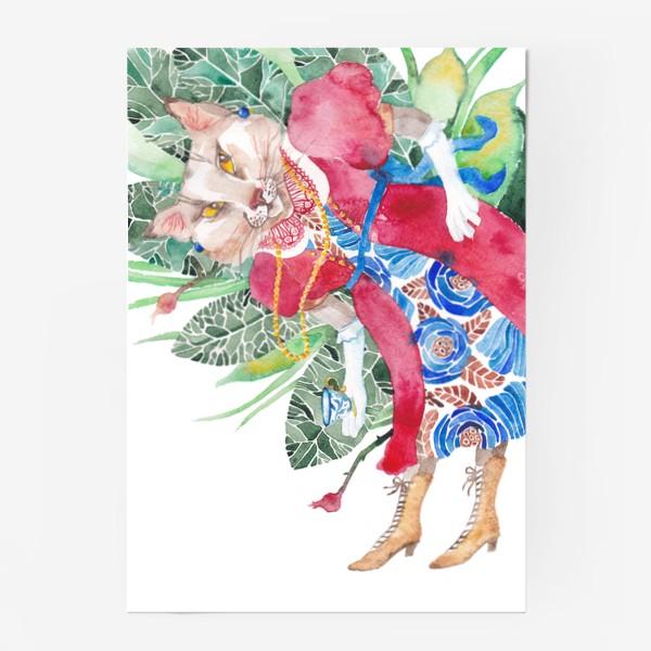 Постер «Кошка в платье с чашечкой чая»