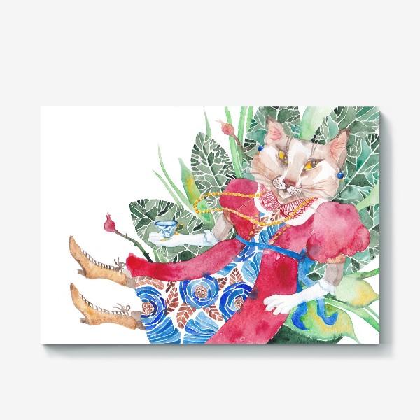 Холст «Кошка в платье с чашечкой чая»