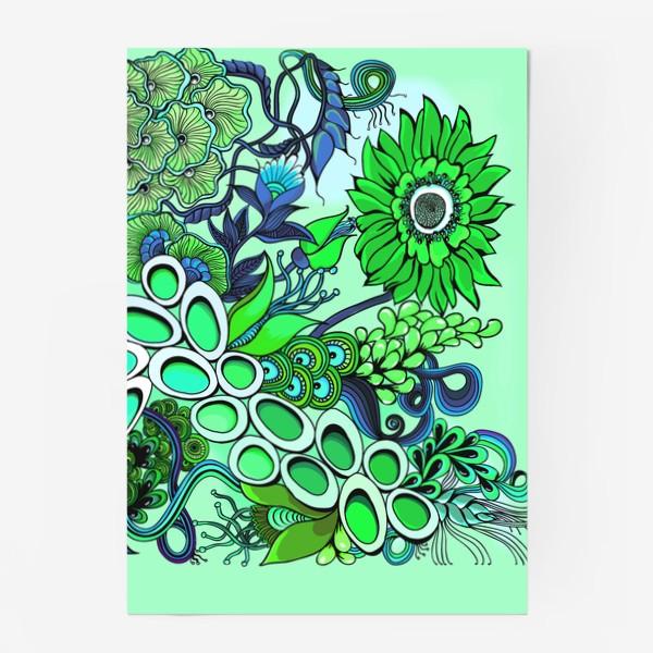 Постер «Дудлинг цветочный зеленый»