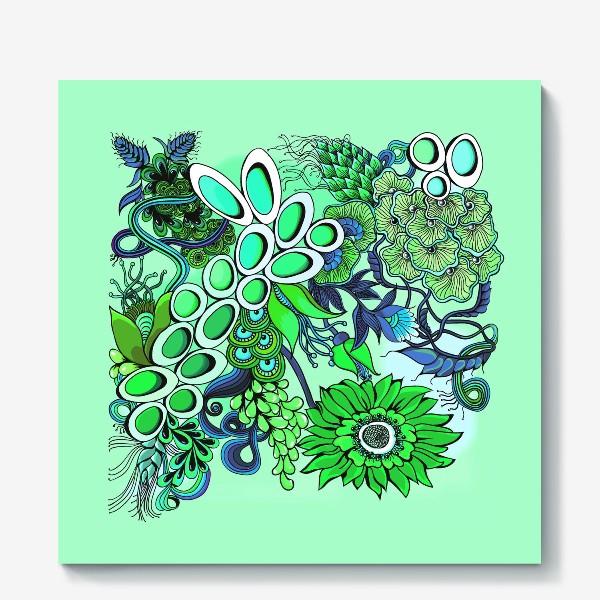 Холст «Дудлинг цветочный зеленый»