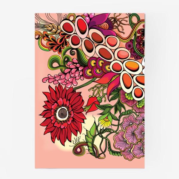 Постер «Дудлинг цветочный красный»