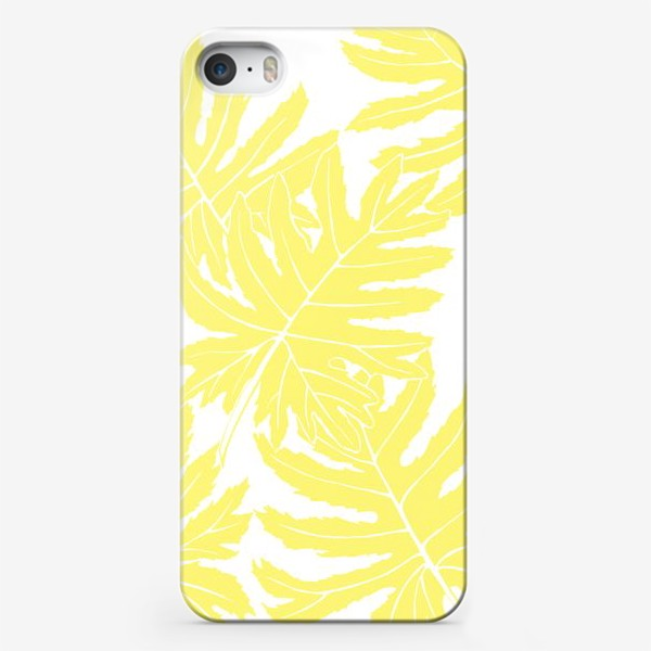 Чехол iPhone «Филодендрон двоякоперистый, листья, паттерн (желтый)»
