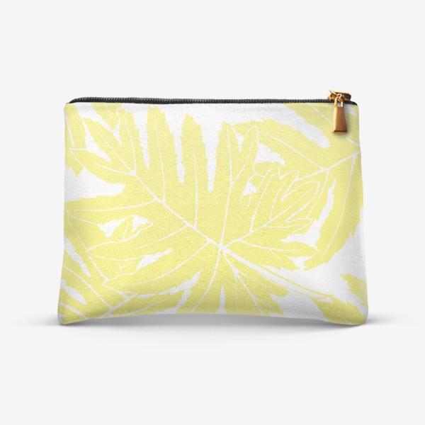 Косметичка «Филодендрон двоякоперистый, листья, паттерн (желтый)»