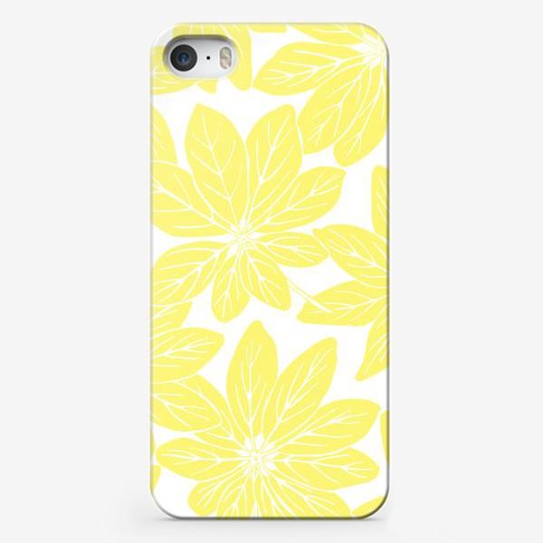 Чехол iPhone «Листья шеффлеры - паттерн (желтый)»