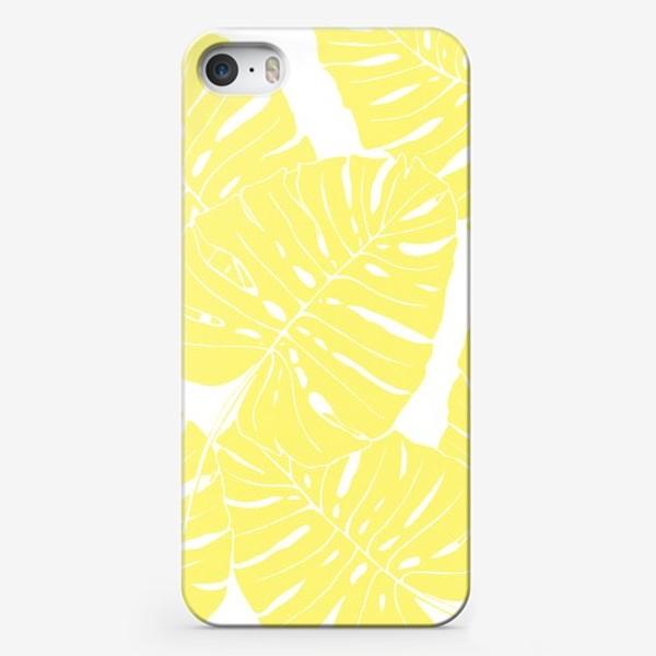 Чехол iPhone «Монстера - паттерн из листьев (желтый)»