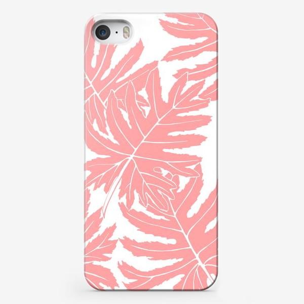 Чехол iPhone «Филодендрон двоякоперистый, листья, паттерн (розовый)»