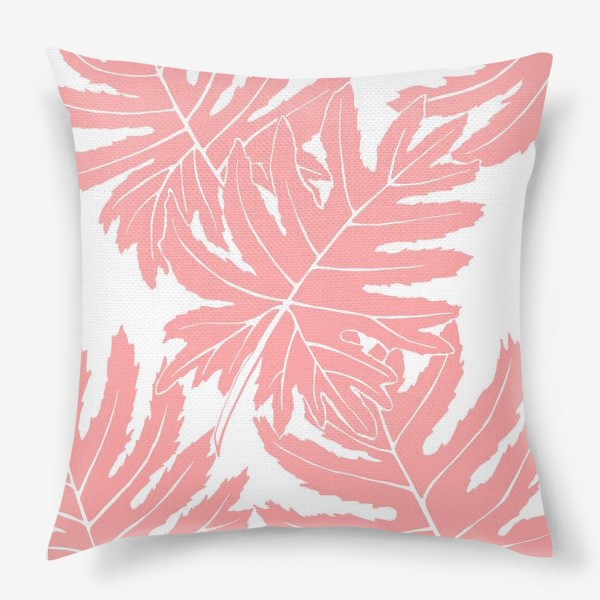 Подушка «Филодендрон двоякоперистый, листья, паттерн (розовый)»