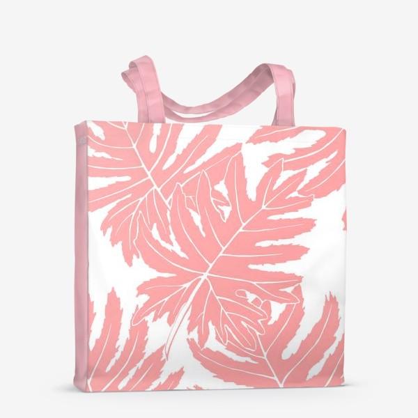 Сумка-шоппер «Филодендрон двоякоперистый, листья, паттерн (розовый)»