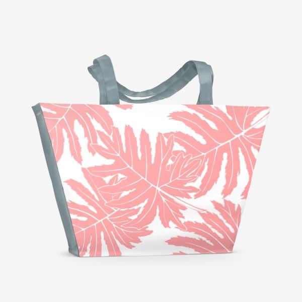 Пляжная сумка «Филодендрон двоякоперистый, листья, паттерн (розовый)»