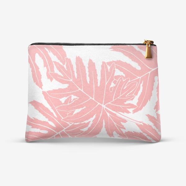 Косметичка «Филодендрон двоякоперистый, листья, паттерн (розовый)»