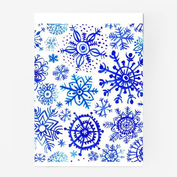 Постер «Снежинки гжель»