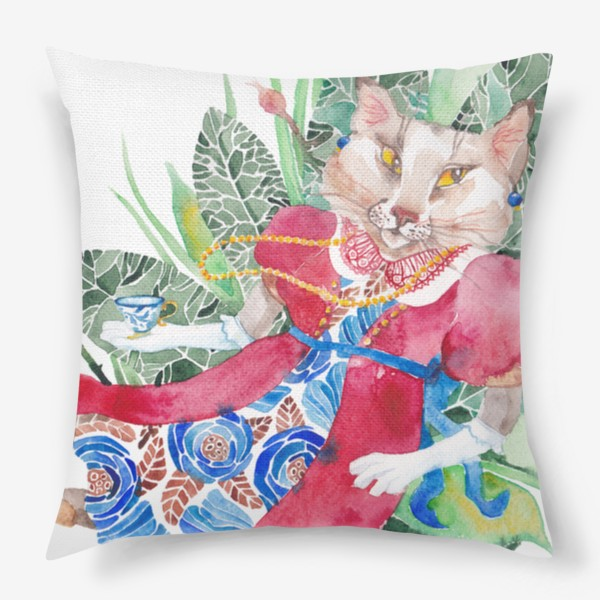 Подушка «Кошка в платье с чашечкой чая»