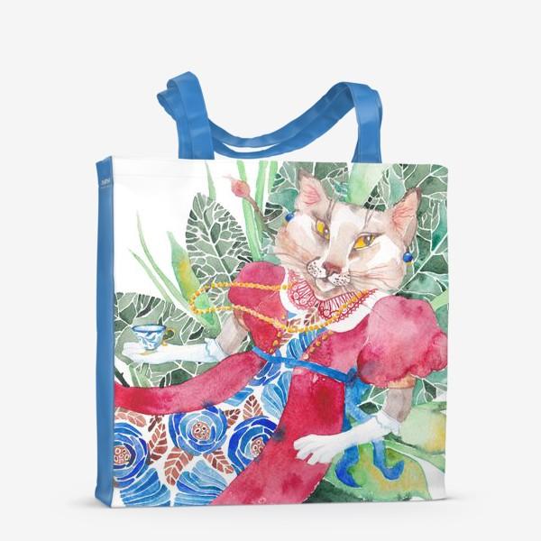 Сумка-шоппер «Кошка в платье с чашечкой чая»