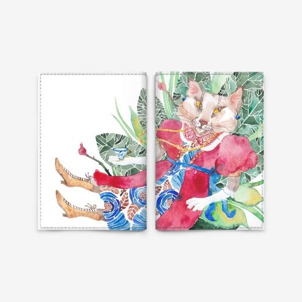 Обложка для паспорта «Кошка в платье с чашечкой чая»