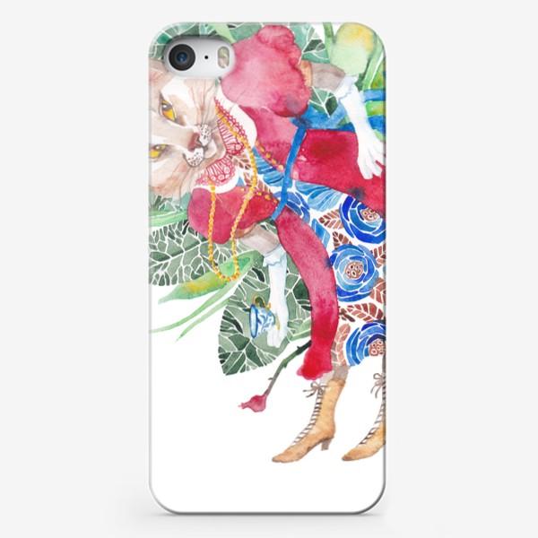 Чехол iPhone «Кошка в платье с чашечкой чая»