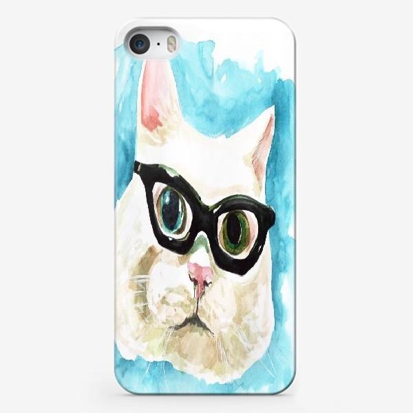 Чехол iPhone «Белый кот профессор»