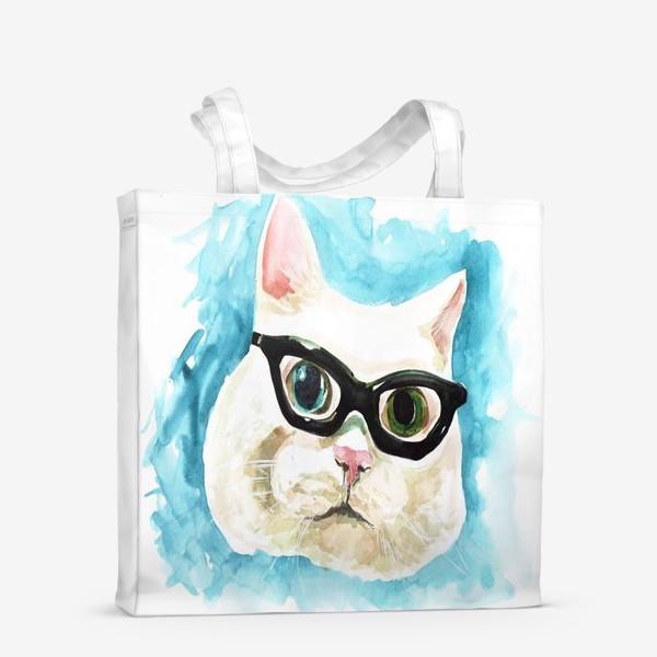 Сумка-шоппер «Белый кот профессор»