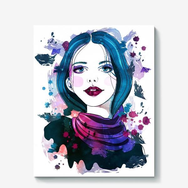 Холст «Девушка с синими волосами»
